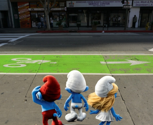 Smurfs Confront Bike Lane